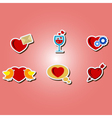 color icons with symbols of Valentines Day vector image