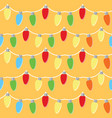 colorful light bulbs garland seamless pattern vector image