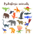 colorful prehistoric dinosaurs and animals vector image vector image