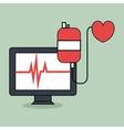 computer with medicine icon vector image vector image