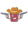 cowboy hot chocolate character cartoon vector image vector image