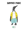 cute pinguin in shorts t-shirt ready for summer vector image