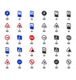 different types of road signs cartoonmono icons vector image