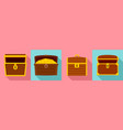 dower chest icon set flat style vector image