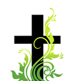 Easter cross and grass vector image vector image