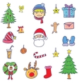 element christmas set doodle vector image vector image