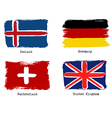 European grunge flags Flags of Germany Iceland vector image vector image