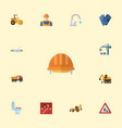 flat icons toolkit hoisting machine caution and vector image vector image