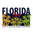 florida surfing graphic with palms t-shirt design vector image