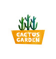 garden cactus logo for advertising shops vector image
