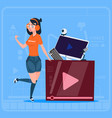 girl over vlogger channel screen modern video vector image vector image