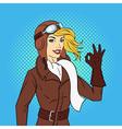 hand drawn pop art style retro woman pilot vector image vector image