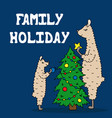 hand-drawn poster with a lama family decorate the vector image vector image