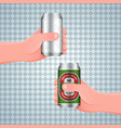hand holds a wet aluminum can vector image