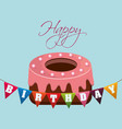 happy birthday cake with festive flags vector image