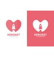 heart and rocket logo combination unique romantic vector image