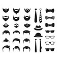 hipster portraits creation kit monochrome vector image