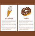 ice cream and chocolate donut vector image vector image
