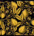 ink hand drawn citrus fruits backdrop gold foil vector image