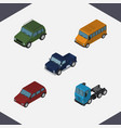 isometric transport set of armored autobus truck vector image