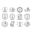 law office icons set with scales of justice gavel vector image vector image