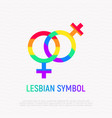 lesbian symbol in rainbow color vector image