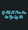 neon light handwritten font calligraphic vector image vector image