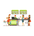 people shopping in supermarket women paying vector image