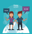poster of global people with light blue background vector image vector image