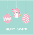 rabbit hare with carrot three painting egg shell vector image vector image