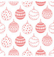 seamless pattern of red christmas tree ball toy vector image vector image