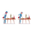 set of male and female janitor dusting the desk vector image vector image