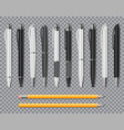 set of realistic office elegant pens and pencil vector image vector image