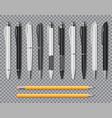 set realistic office elegant pens and pencil vector image