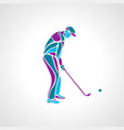 silhouette golf player in blue colours vector image vector image