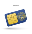 State of Nebraska phone sim card with flag vector image vector image