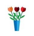 Tulip vase on white background flat vector image vector image