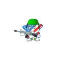 usa star mascot in army uniform with machine gun
