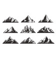 vintage monochrome mountain landscapes set vector image vector image