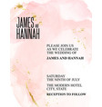alcohol ink rose gold wedding invitation template vector image