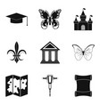 antiquity icons set simple style vector image vector image