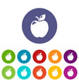 apple icons set color vector image