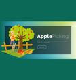 apple picking horizontal banner vector image vector image