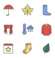 autumn season color icons set vector image vector image