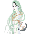 Beautiful sirene with long green hair vector image