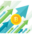 bitcoin growth up trend - creative concept vector image
