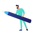 businessman holding a big pencil vector image vector image