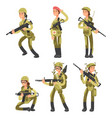 Cartoon characters female soldiers in various