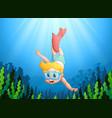 cartoon kid diving underwater vector image vector image