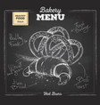 chalk drawing bakery food croissant and pretzel vector image